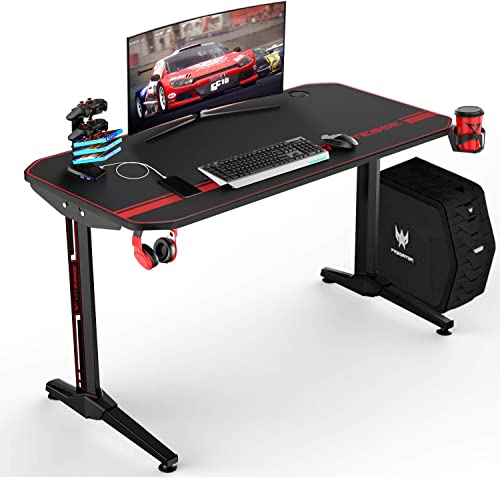 VIT 47 Inch Ergonomic Gaming Desk, T-Shaped Office PC Computer Desk with Full Desk Mouse Pad, Gamer Tables Pro with USB Gaming Handle Rack, Stand Cup Holder Headphone Hook 47 inch, Black