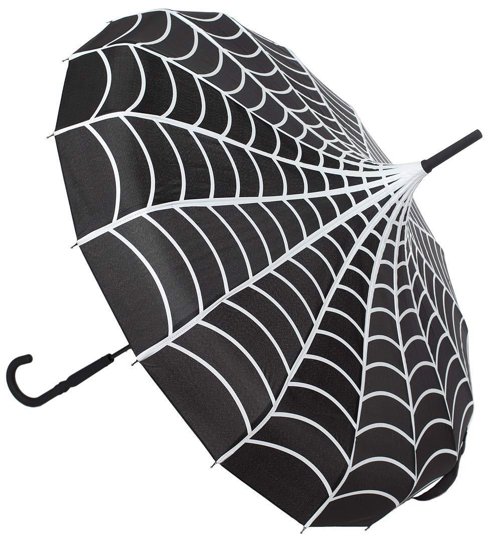Sourpuss Spiderweb Pagoda Umbrella SPUM12BLK:NS