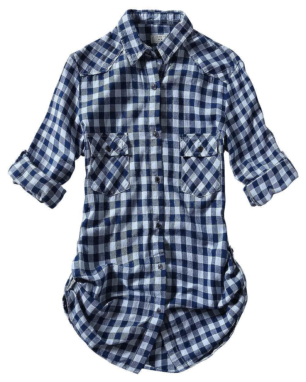 2022 Check 7 Match Women's Long Sleeve Flannel Plaid Shirt