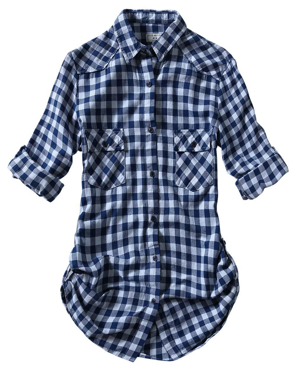 Match Women's Long Sleeve Cotton Plaid Shirt (Large, 2022 Check#7)