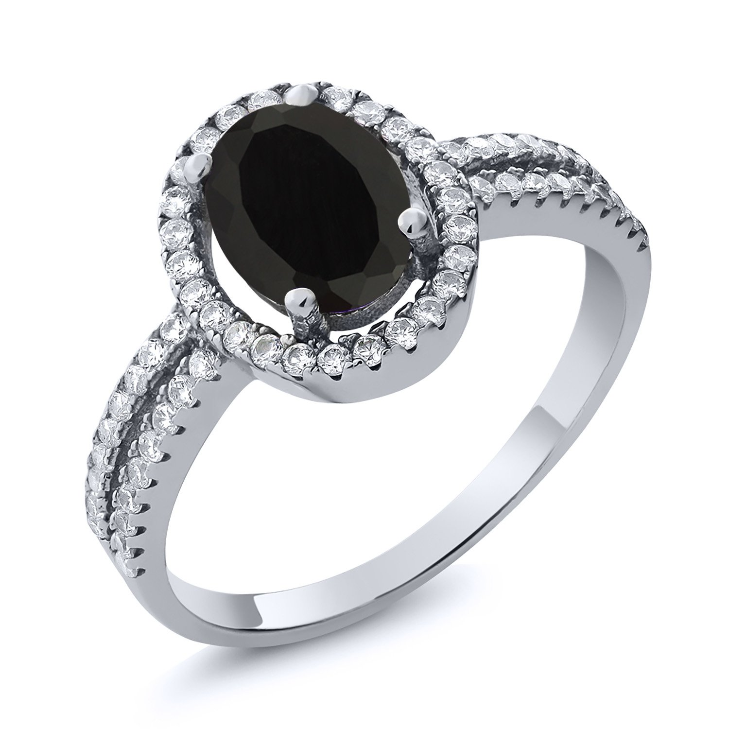 1.85 Ct Natural Oval Black Onyx 925 Sterling Silver Women's Ring (Available in size 5, 6, 7, 8, 9) MGZ-0079-OV-OX-BLC-CZ-W-SS