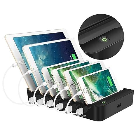 ELEGIANT Estación de Carga USB Cargador de 6 Puertos Carga rápida para múltiples Dispositivos con Switch Organizador de Escritorio 5 X 2.4A y 1 X 3.0A ...