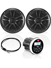 BOSS AUDIO Marine-gauge System with In-dash Mechless Am/Fm Receiver, Speakers and Antenna (black Speakers)