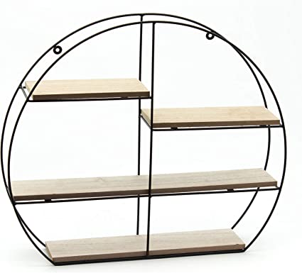 Casa Collection - Estantería Redonda de Pared con 4 estantes