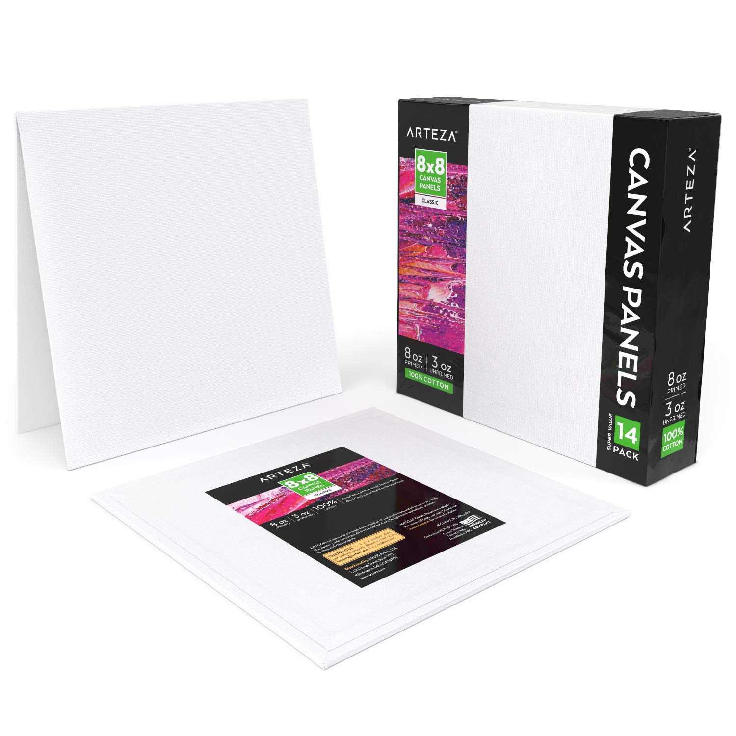 Arteza Painting Canvas Panels, 8x8, Pack of 14, Primed White, 100% Cotton with Recycled Board Core, for Acrylic, Oil, Other Wet Or Dry Art Media, for Artists, Hobby Painters, Kids