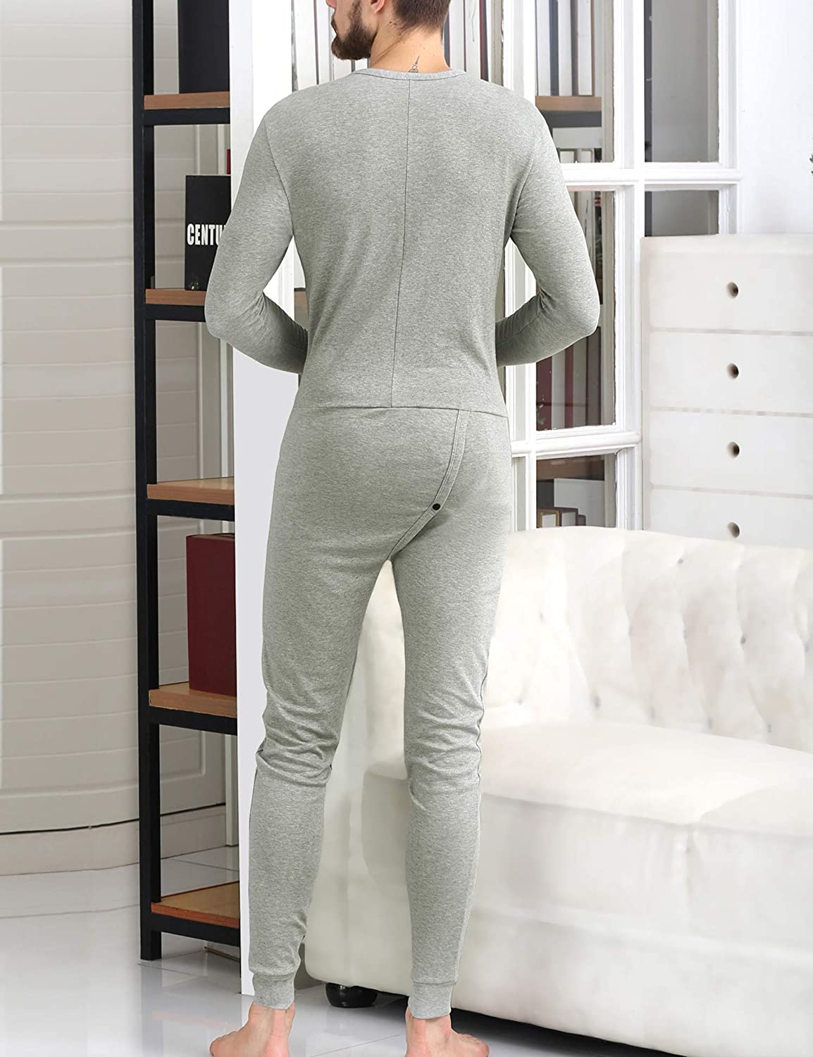 COLORFULLEAF Mens Cotton Thermal Underwear Union Suits Henley Onesies Base Layer