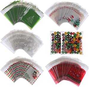 500Pcs Christmas Candy Bags Snowflake Christmas Tree Treat Bags Self Adhesive Cellophane Plastic Cookie Bakery Candy Treat Gift Bags