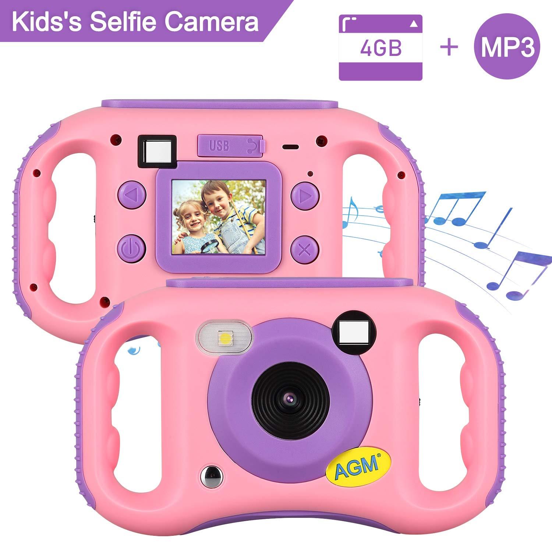 AGM Caméra Enfant, Caméra numérique pour Enfants 1080P HD Antichoc Rechargable avec Ecran LCD 1.77 Pouces, Appareil Photo Enfants Jouet Cadeau pour Garçons Filles (Mémoire intégrée de 4 Go)