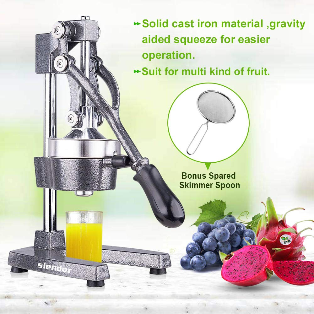 Commercial Citrus Juicer Orange Manual Juice Squeezer Heavy Duty Fruit Presser For Pomegranate Lime Grapefruit Juice Stainless Steel Extractor Cast Iron Body - Bonus Shared Skimmer Spoon by slendor