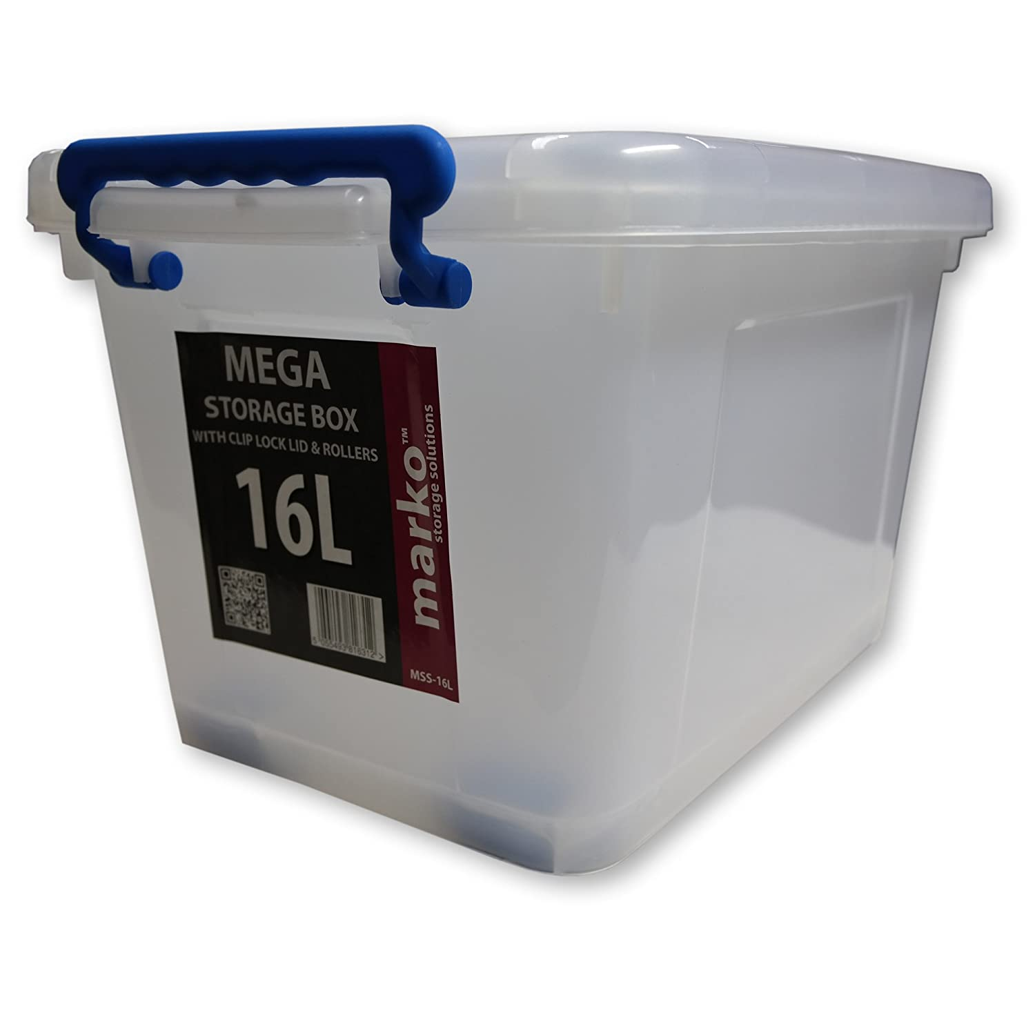 16L Heavy Duty Strong Plastic Storage Box 16 LTR (Litre) With Wheels U0026 Clip  Lids: Amazon.co.uk: Kitchen U0026 Home