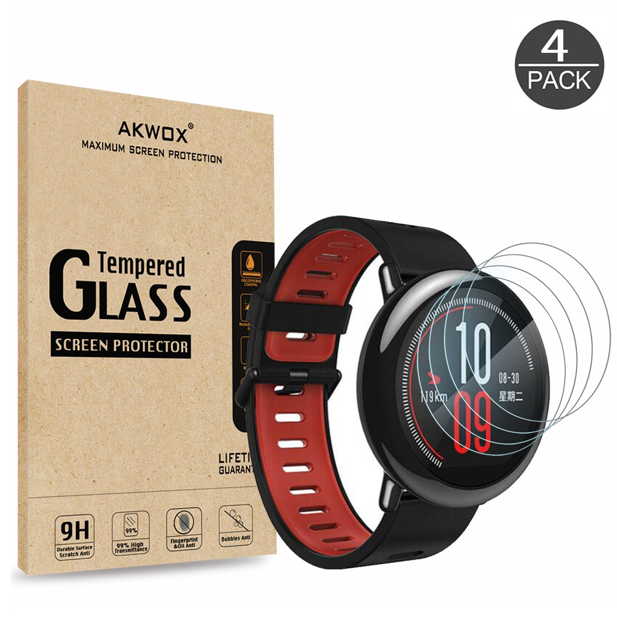 4 Pack Tempered Glass Screen Protector For Xiaomi Amazfit Akwox Pace 2 Stratos Cover Bumper Case Shell Frame 03mm 25d High Definition 9h Anti Scratch Huami