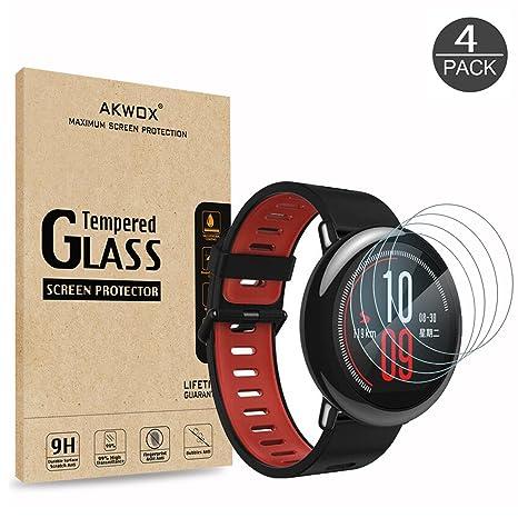AKWOX [4 Unidades] Protector de Pantalla para Xiaomi Amazfit, [9H Dureza] Cristal Vidrio Templado para Xiaomi Amazfit Cristal Templado