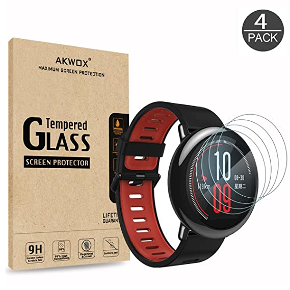 (4-Pack) Tempered Glass Screen Protector for Xiaomi Amazfit, Akwox [0.3mm 2.5D High Definition 9H] Anti Scratch Screen Protector for Huami Amazfit ...