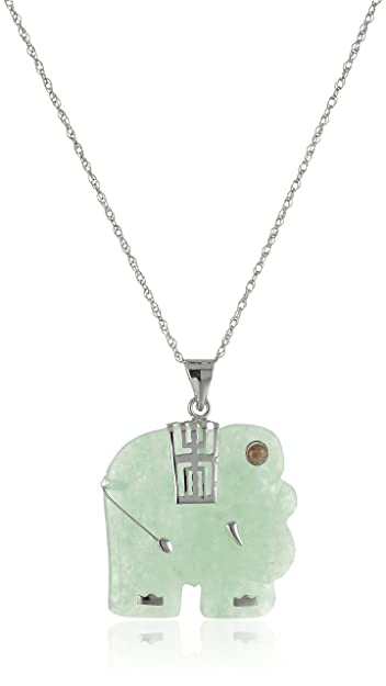 Amazon rhodium plated sterling silver green jade elephant rhodium plated sterling silver green jade elephant pendant necklace 18quot aloadofball Gallery
