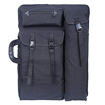 Tourwin Canvas 4K Artist Portfolio Carry Shoulder Bag Multifunctional Drawboard Bags for Drawing Sketching Painting Grey