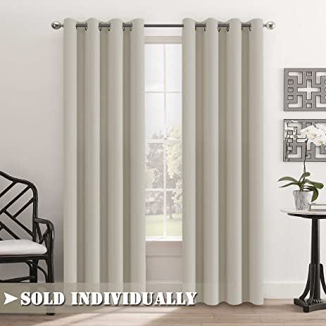 flamingop living room curtains light blocking solid pattern drape noise reducing grommet top