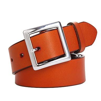 1c2d5856c15 E-Clover Simple Womens Leather Belt Square Silver Buckle Dress Belt for  Jeans 3.2CM