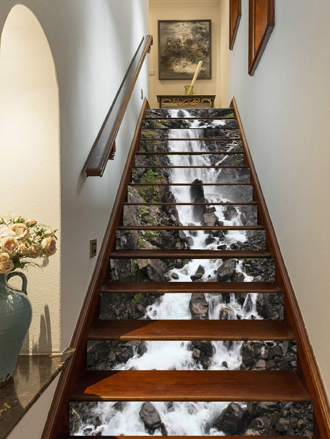 """FLFK 3D Rock Stones Waterfall Stair Riser Stickers Self-Adhesive Staircase Stickers Home Decor 39.3""""x7""""x13PCS"""