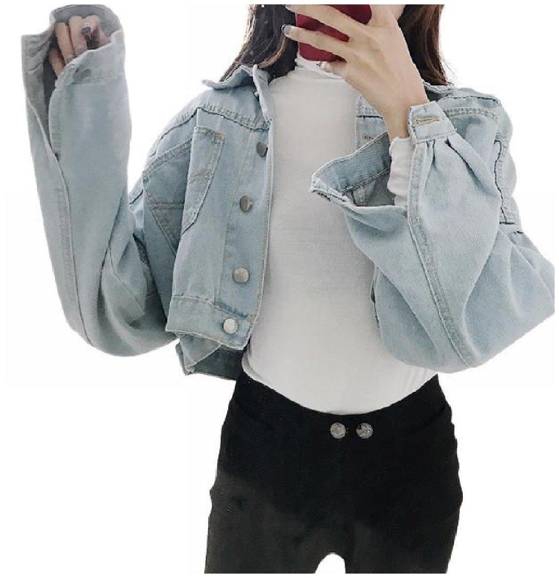 Zimaes-Women Lapel Collar Short Style Baggy Denim Jean Jacket Coats Outerwear Light Blue OS