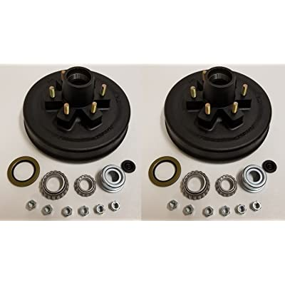 2-Pk 12 in. x 2 Trailer Brake Hub Drum Kit w/Bearings Seal Cap Lugs (6 on 5.5): Industrial & Scientific