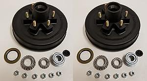 2-Pk 12 in. x 2 Trailer Brake Hub Drum Kit w/Bearings Seal Cap Lugs (6 on 5.5)