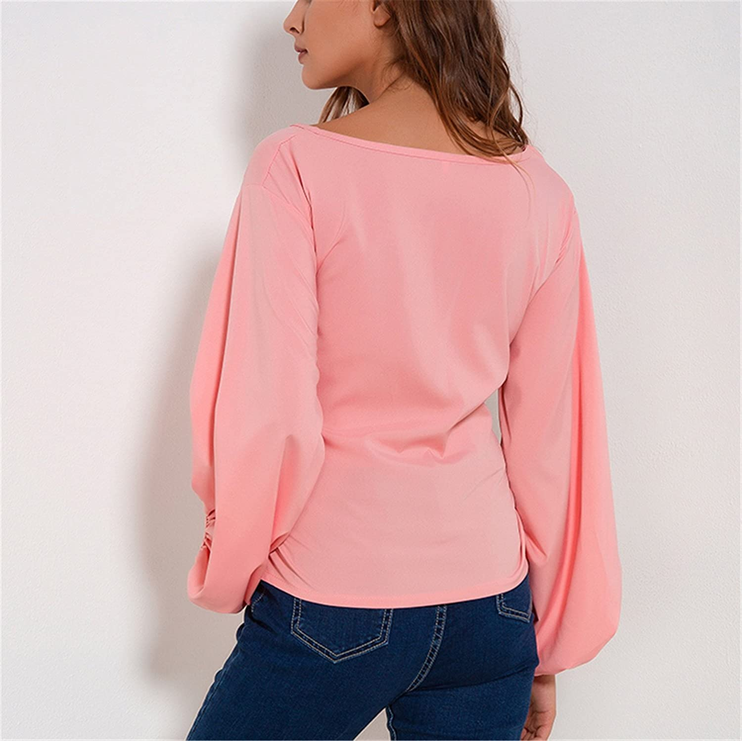 Amazon.com: xiaohuihuihui Chiffon Wrap Blouse Women Shirts Autumn 2018 Fashion Lantern Long Sleeve Blouses With Bow Belt Loose Casual Tops Womens Clothing ...