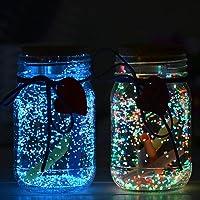 OSALDI 3 Pcs 10g Luminous Sand Glow in The Dark DIY Bright Fluorescent Particle for Wishing Bottle Fish Tank (Yellow Green)