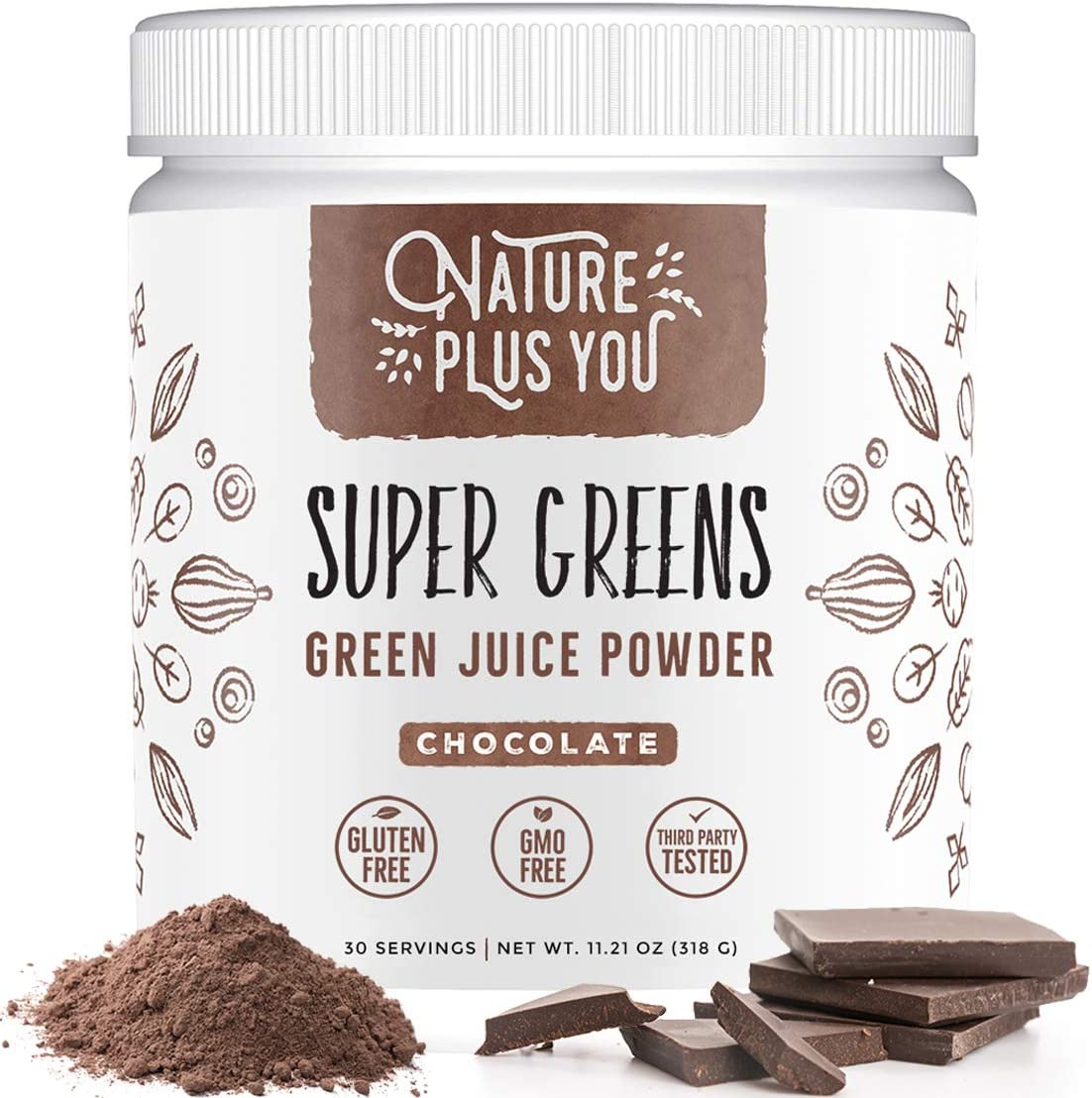 Chocolate Super Greens Organic Blend: Includes Spirulina, Alfalfa, Spinach, Acai, Probiotics and Digestive Enzymes, No Artificial Sweeteners, 30 Servings by Nature Plus You