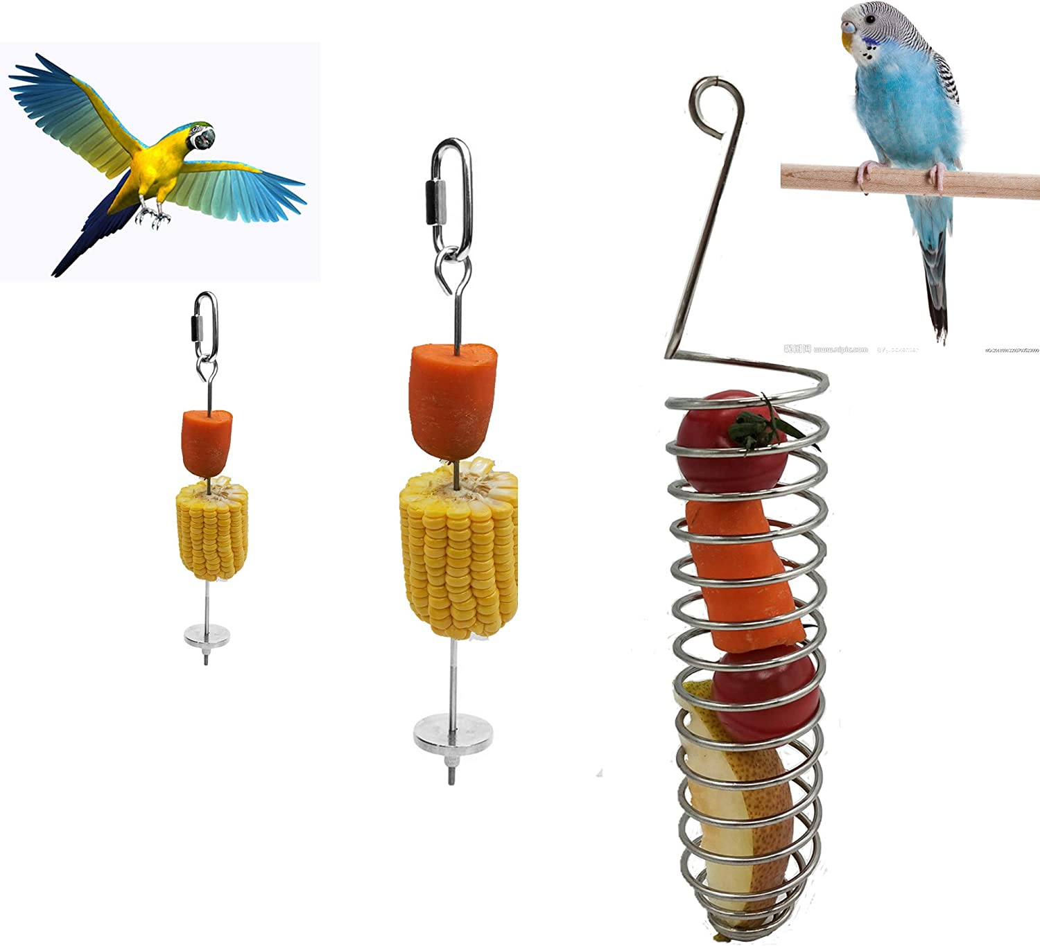 HFBlins 3 PCS Bird Food Holder, Parrot Hanging Cage Vegetable Fruit Feeder, Stainless Steel Bird Treat Skewer Parrot Foraging Toy, Animal Feeding Treating Tool