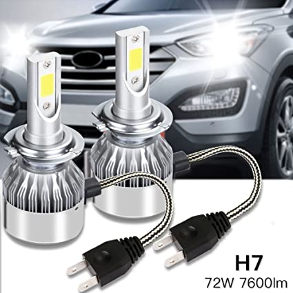 MARVTEK 2x LEDs COP H7 Faros Delanteros Bombillas de luces LED 72w / 7600Lm (2x 36W / 3800Lm) de Alta Potencia con Ventilador y Radiador Disipador de calor, ...