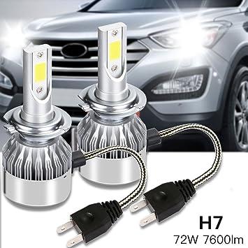 MARVTEK 2x LEDs COP H7 Faros Delanteros Bombillas de luces LED 72w / 7600Lm (2x