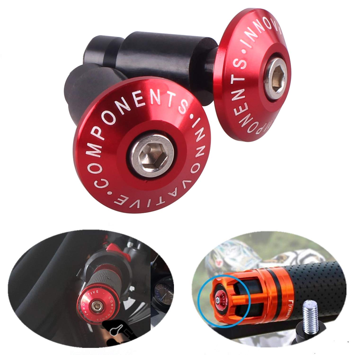 1 Pair,Red Heart Horse 7//8 Motorbike Bar Ends,Universal Motorcycle CNC Handle Bar Cap Cover Grips End Plug