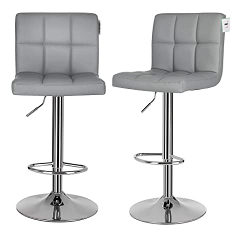 Enjoyable Songmics Bar Stools Set Of 2 Height Adjustable Bar Chairs In Synthetic Leather 3600 Swivel Kitchen Stool With Backrest And Footrest Chrome Plated Gmtry Best Dining Table And Chair Ideas Images Gmtryco