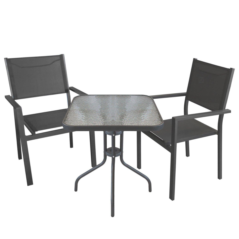 3tlg. Bistrogarnitur Gartengarnitur 60x60cm Bistrotisch mit geriffelter Tischglasplatte Glastisch inkl. Aluminium Stapelstuhl mit 4x4 Textilenbespannung Grau Sitzgruppe Gartenmöbel Set