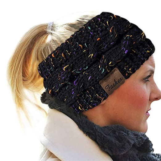 Fasker Womens Cc Style Confetti Winter Cable Knit Headband Head Wrap