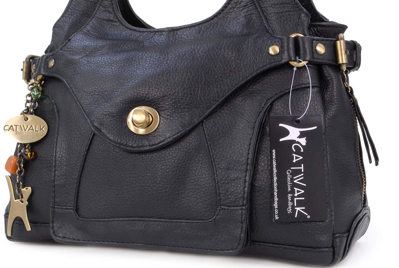 46380fb5da0 CATWALK COLLECTION - ROXANNA - Bolso de hombro - Cuero - Negro  Amazon.es   Zapatos y complementos