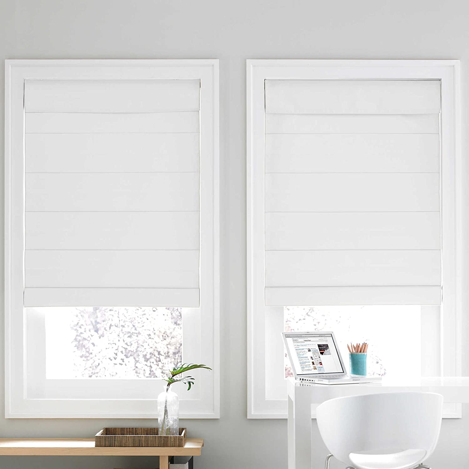 Snow white thermal fabric roman shades free shipping on orders over - Amazon Com Real Simple Cordless Roman Cellular 23 X 72 Shade White Home Kitchen