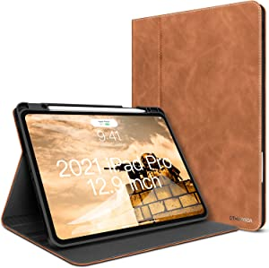 iPad Pro 12.9 Case New iPad 5th/4th/3rd Generation Leather Case 2021/2020/2018 with Pencil Holder - Minimalist Folio Smart Cover Auto Sleep/Wake [Supports Wireless Charging]