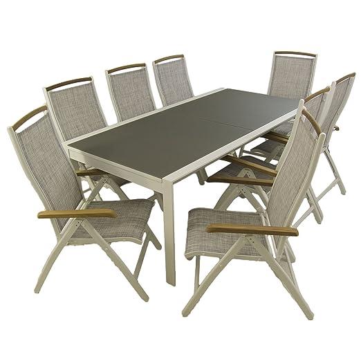 Conjunto Mesa jardín Extensible 200/300 y 8 sillones reclinables ...