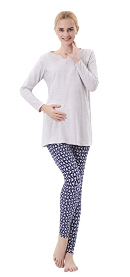 1055eac876b7 luyusbaby Women s Maternity Nursing Cotton Pajamas Breastfeeding Sleepwear  Pants Set