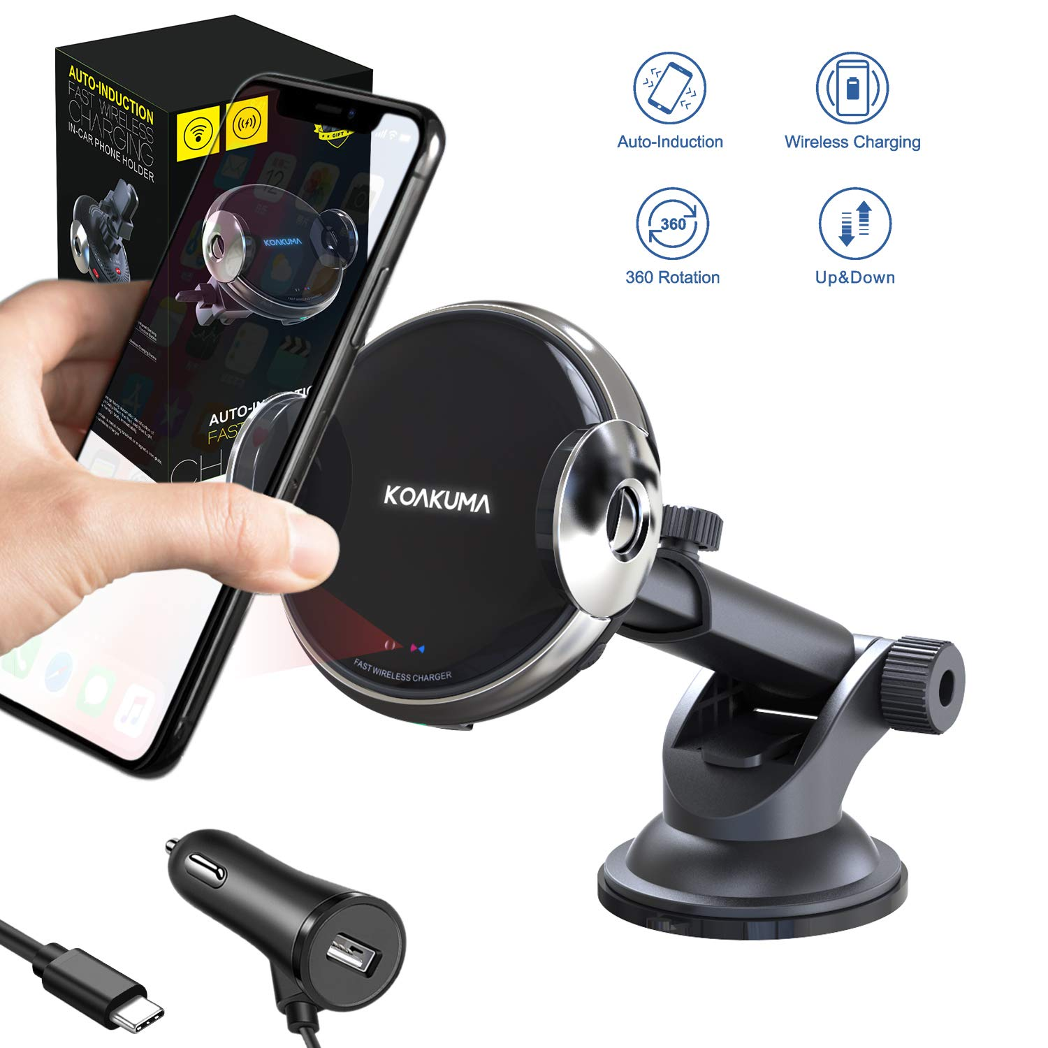 KOAKUMA Wireless Car Charger Mount, Automatic Clamping Wireless Charging Phone Holder for Car, 15W Qi-Certified Compatible iPhone 11 Pro Max/Xs Max/X/XS/XR/8, Samsung Galaxy S10/S10+/S9/S9+ Note9 by KOAKUMA