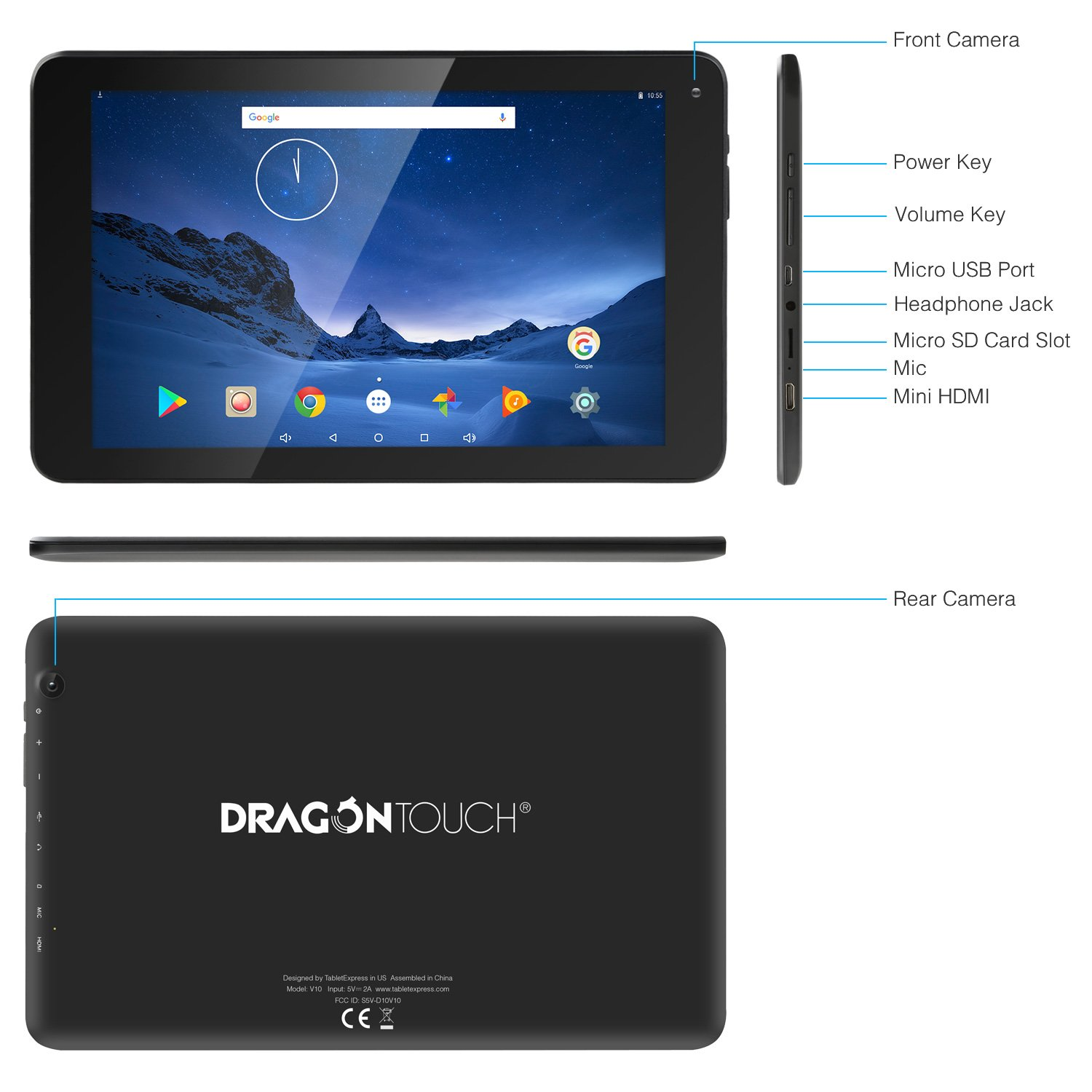 Dragon Touch V10 10.1 inch Tablet Android 7.0 Nougat MTK Quad Core 1GB RAM 16GB Storage, 800x1280 IPS Display with Mini HDMI GPS by Dragon Touch (Image #3)