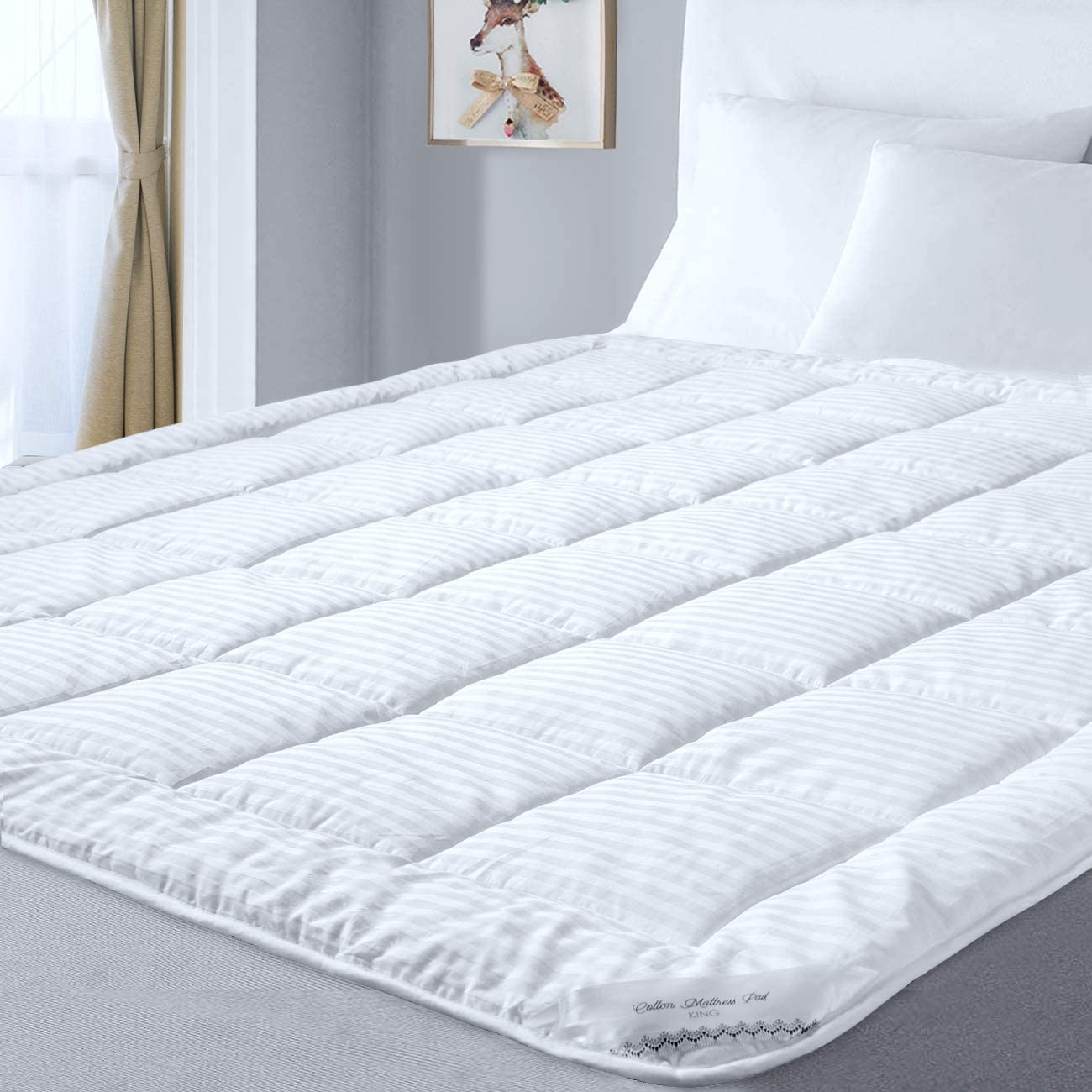 Mattress Pad for King Size Bed with 100% Ventilated Cotton Cover andDown Alternative Microfiber Filling with Secure Anchor Band Design Adaptsto Mattress Depthsfromfor 6-22'', Machine Washable
