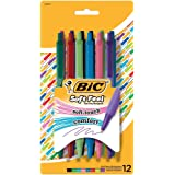 BIC Soft Feel Retractable Ball Pen, Medium Point (1.0mm), Assorted Colors, 12-Count