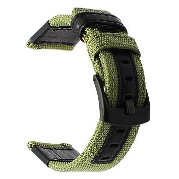 TRUMiRR 20mm Woven Nylon Watch Band Correa de Cuero Genuino para Garmin Vivoactive 3