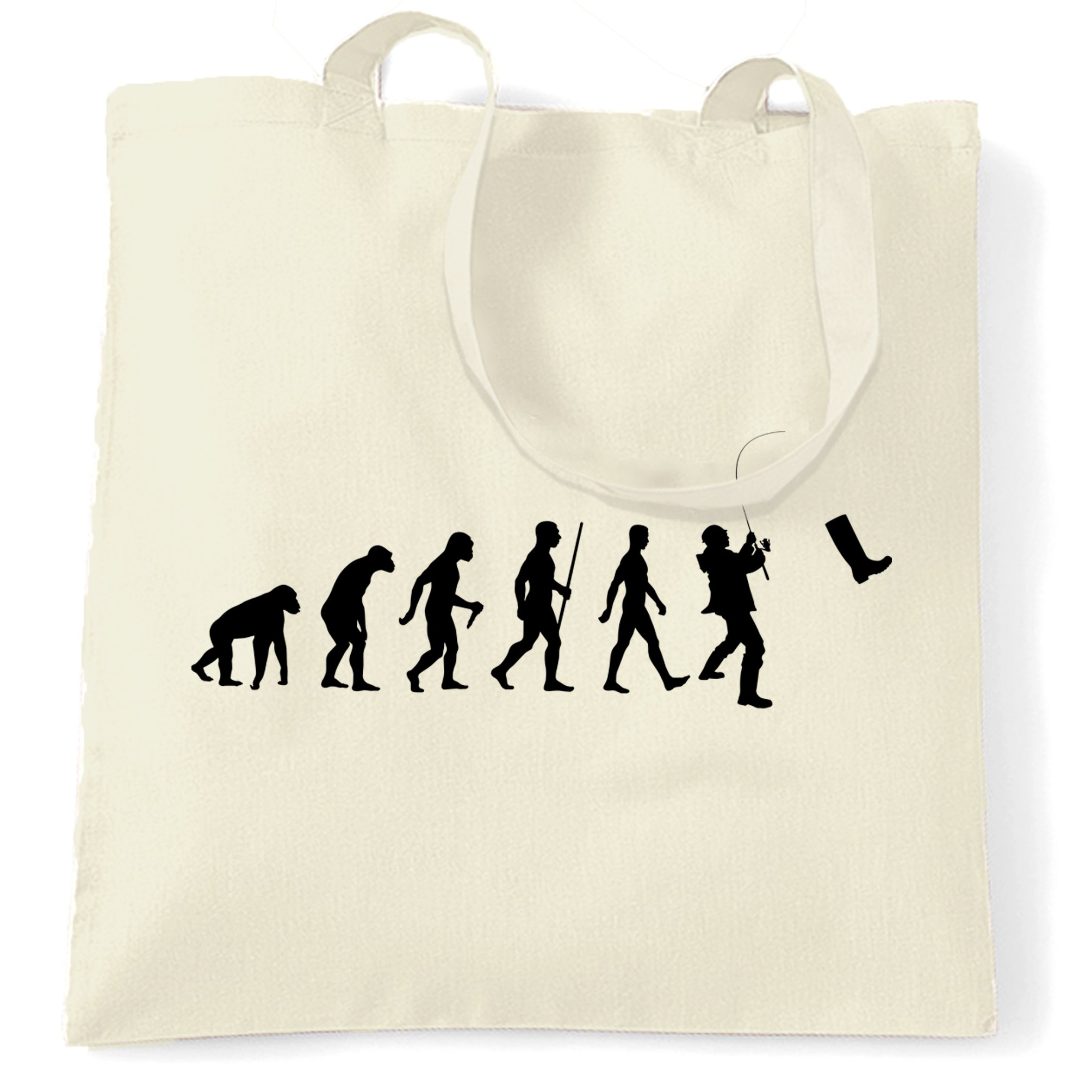 Fisherman Tote Bag The Evolution Of Fishing Boot Natural One Size