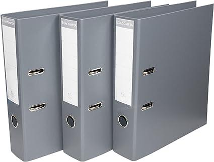 Pack de 3] gris Color A4 Archivadores De Palanca 70 mm ...