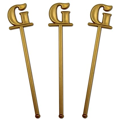 royer 6 wedding monogram letter g swizzle sticksstirrers bold font gold