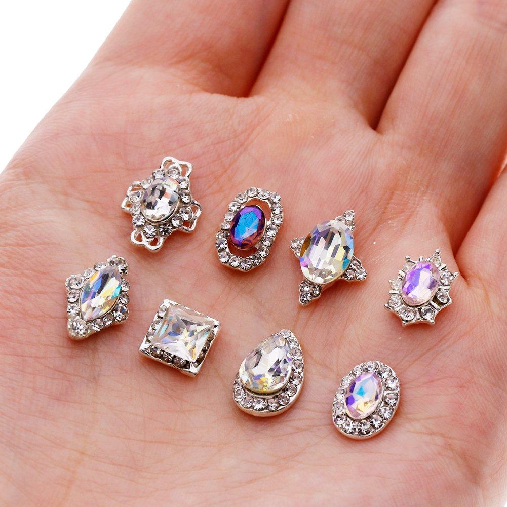 JuanYa 3D-Strassdekoration für Nägel, entzückende Diamant-Kristalle ...