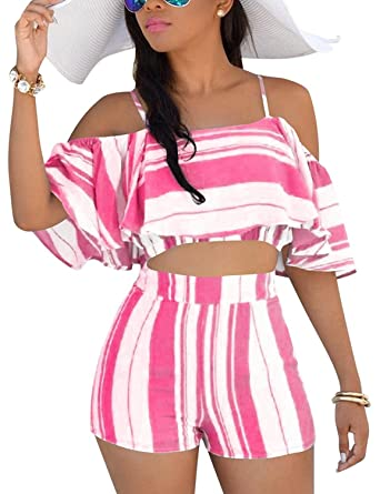 38ad27224b1 Amazon.com  Womens 2 Piece Summer Outfits Boho Striped Print Crop Cami Top  with Shorts Set  Clothing